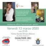 """SENZA PELLE – incontro con Carolina Rocca per il """"Pesciolino Rosso"""" : Gualtieri 13 marzo 2020"""